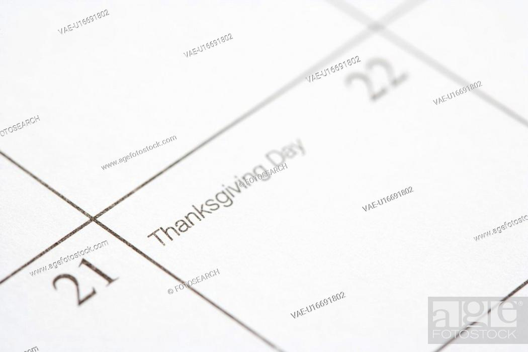 Stock Photo: Close up of calendar displaying Thanksgiving Day.