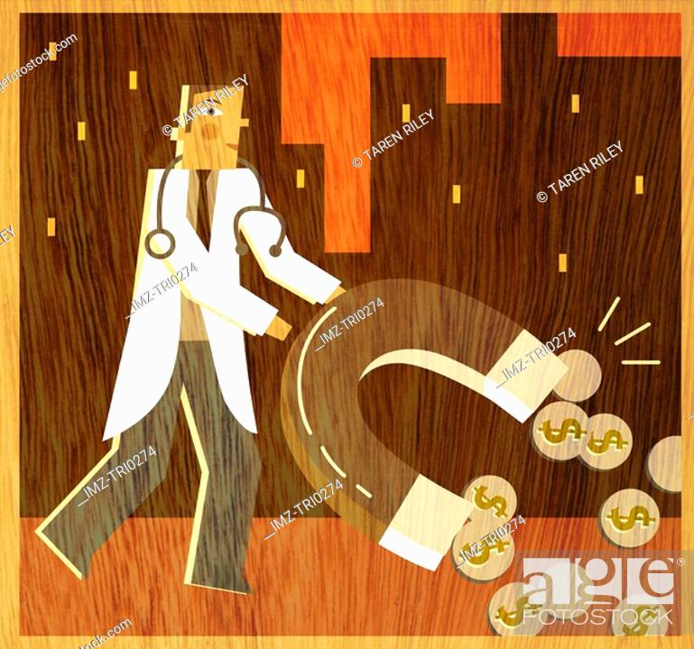 Stock Photo: A doctor holding a large horseshoe magnet to attract coins.