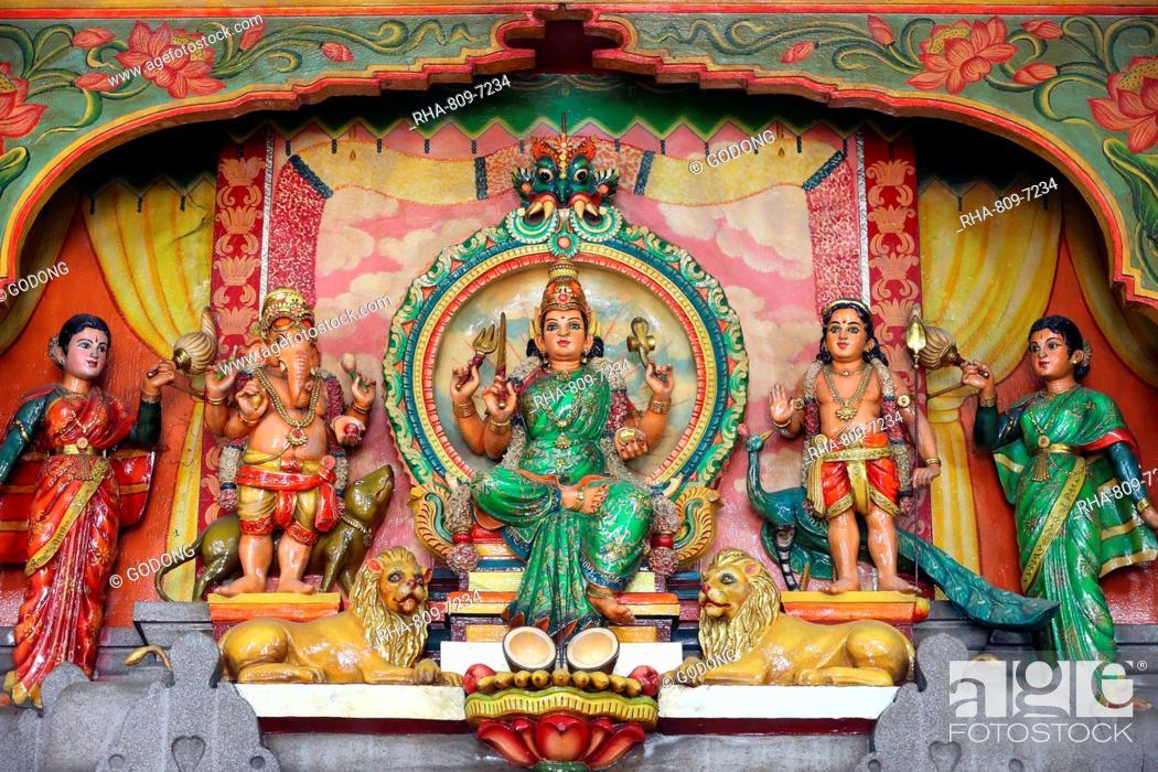 Hindu Gods Ganesh, Shiva and Durga, Mariamman Hindu Temple