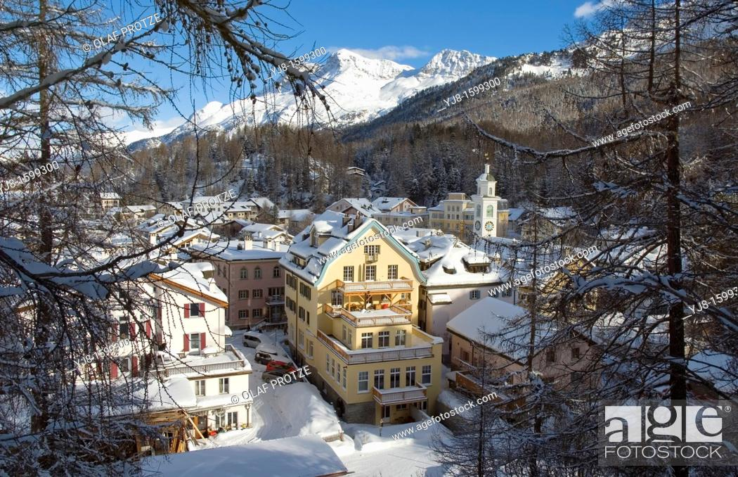 Stock Photo: Winter view over the small mountian village of Sils-Maria near St  Moritz in Engadin, Switzerland.