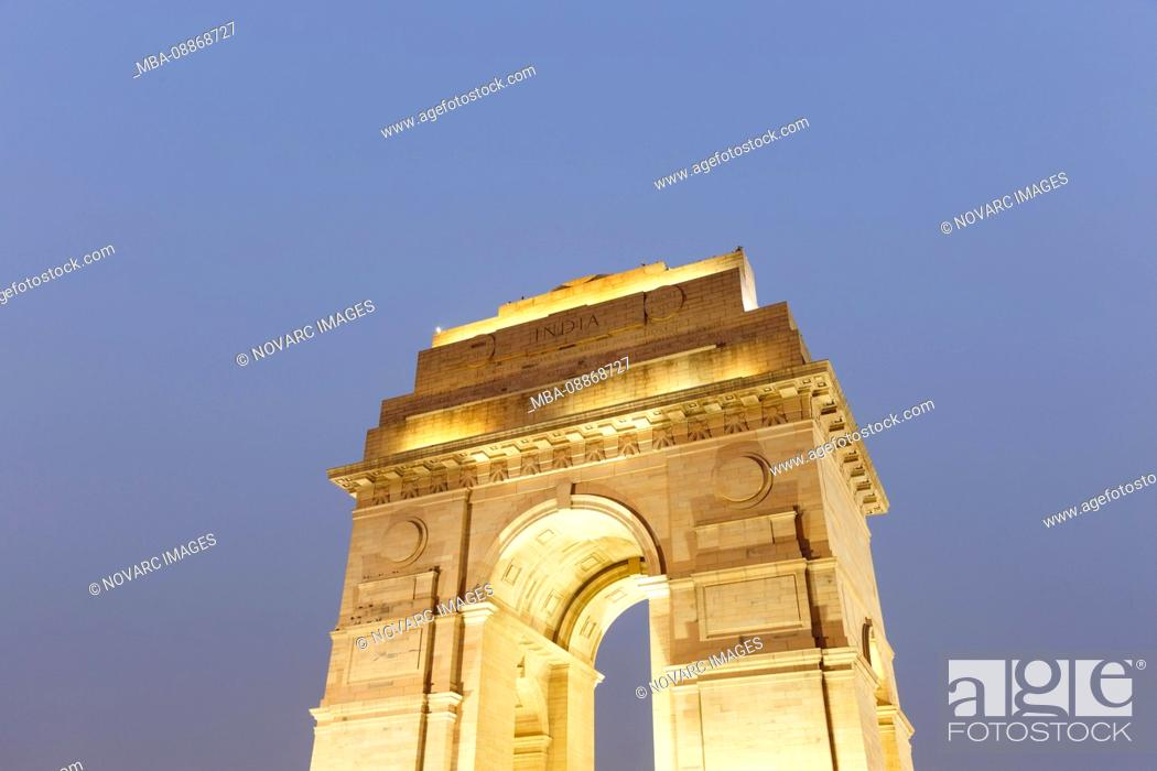 Stock Photo: The India Gate, officially called All India War Memorial, triumphal arch in the Indian capital New Delhi, Delhi, India The India Gate.