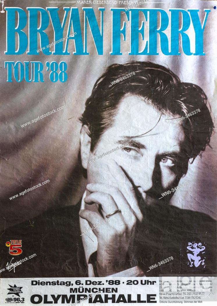 Imagen: Bryan Ferry in Munich 1988, Musical concert poster.