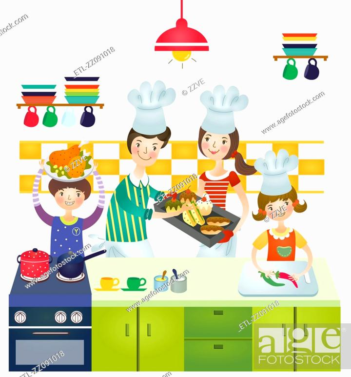 Stock Photo: Family making preparation of food.