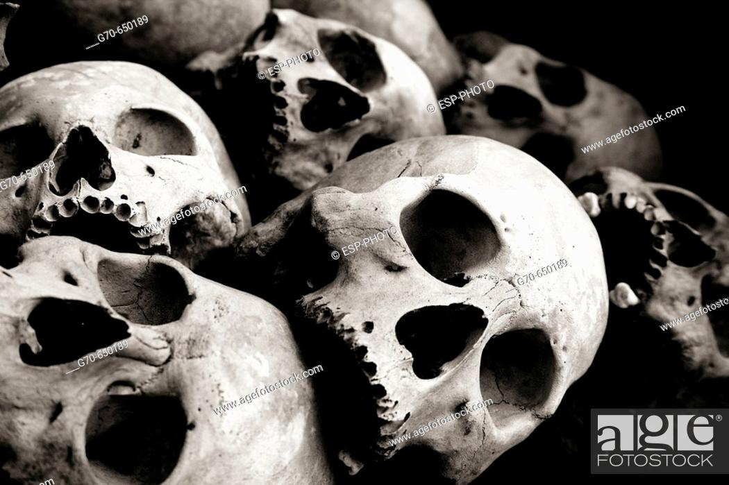 Stock Photo: Human Skull at Memorial Stupa Phnom Penh Cambodia.