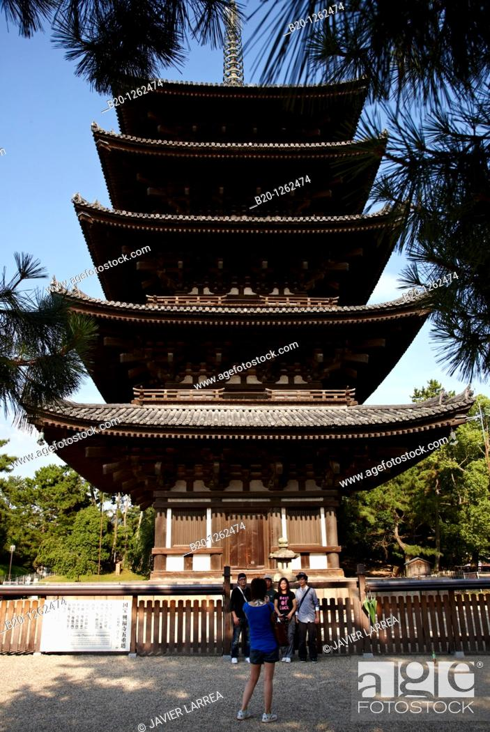 Stock Photo: The Five Storied Pagoda, Horyu-ji Temple, Nara, Japan.