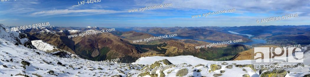 Stock Photo: Panorama with view from Ben Nevis to Loch Linnhe, Ben Nevis, Highland, Scotland, Great Britain, United Kingdom.