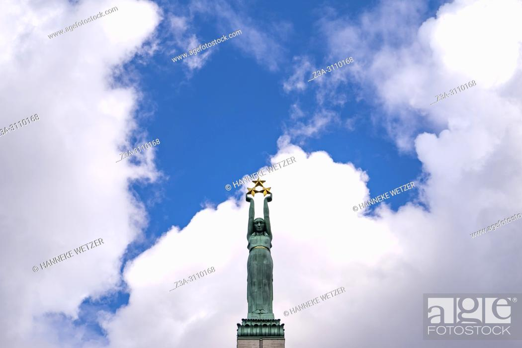 Stock Photo: Freedom Monument in Riga, honouring soldiers killed during the Latvian War of Independence (1918-1920), Latvia, Baltic States.