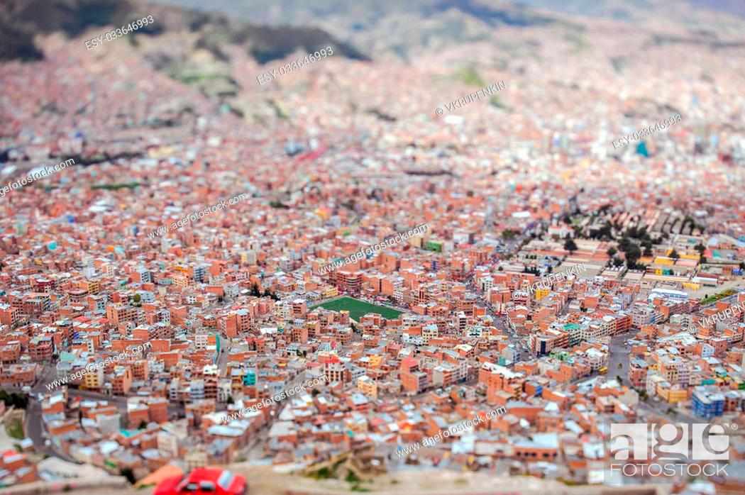 Stock Photo: View from the mountains to the Lapaz, tilt shift.
