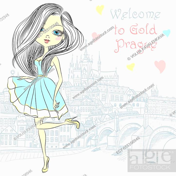 Stock Vector: Cute beautiful fashionable girl in blue dress in Prague. Prague Castle and Charles Bridge on the background.
