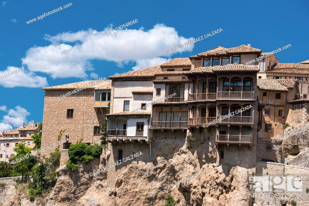 Stock Photo: Hanging houses in Cuenca, Spain.