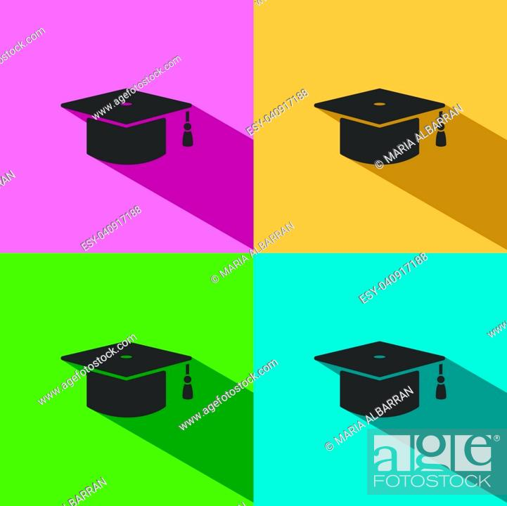 Vector: Mortarboard icon with shade on colored background.