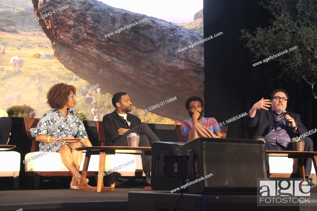 """Stock Photo: Alfre Woodard, Chiwetel Ejiofor, Donald Glover, Jon Favreau 07/10/2019 """"""""The Lion King"""""""" Press Conference held at the Montage Beverly Hills Luxury Hotel in."""