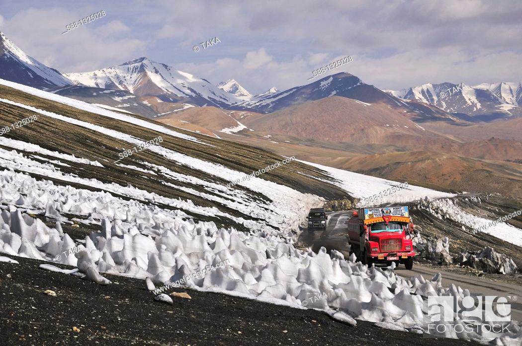 Stock Photo: Truck pass through by the Taglang La, 2nd high pass in the world. Jammu and Kashmir, India.