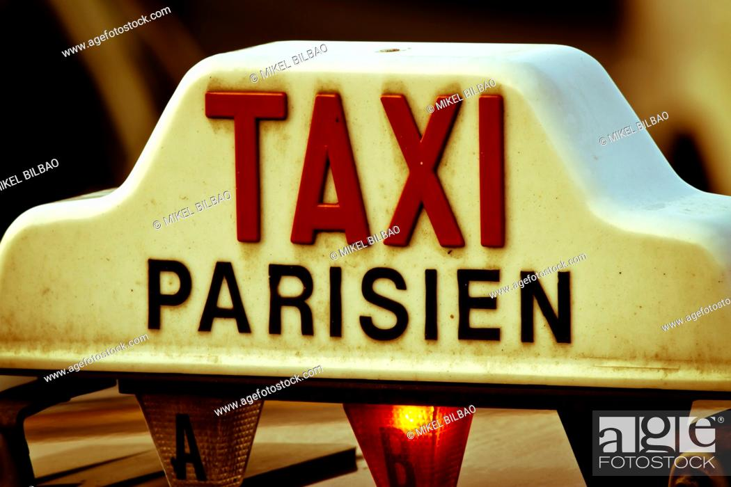 Stock Photo: Taxi sign  Paris, France.