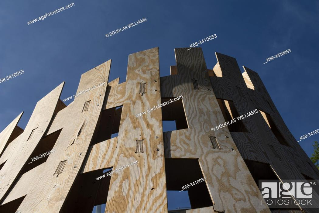 Stock Photo: wood sculpture at the University of British Columbia, Vancouver, BC, Canada.