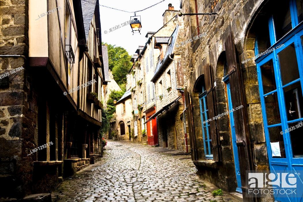 Stock Photo: Rue du Jerzual, Dinan  Côtes d'Armor, Bretagne, France.