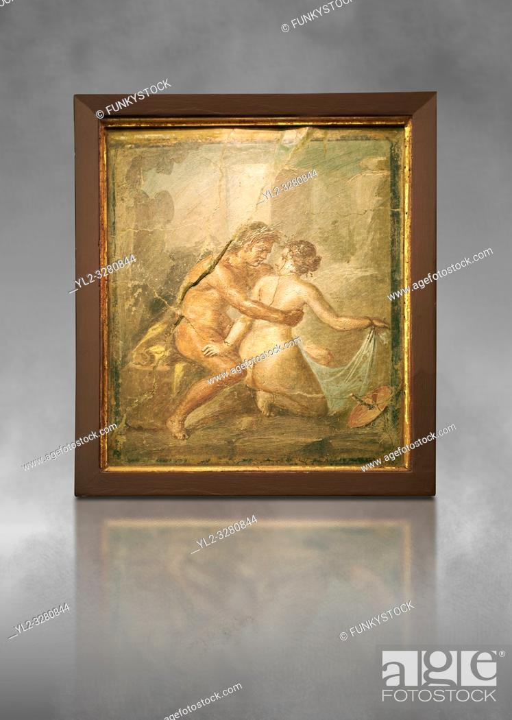 Stock Photo: 1 cent AD Roman Erotic fresco from a house in Pompeii. Naples Archaological Museum.
