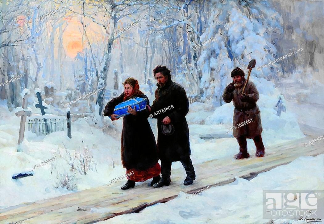 Imagen: Yaroshenko Nikolai - Funeral of the Firstborn - Russian School - 19th Century.
