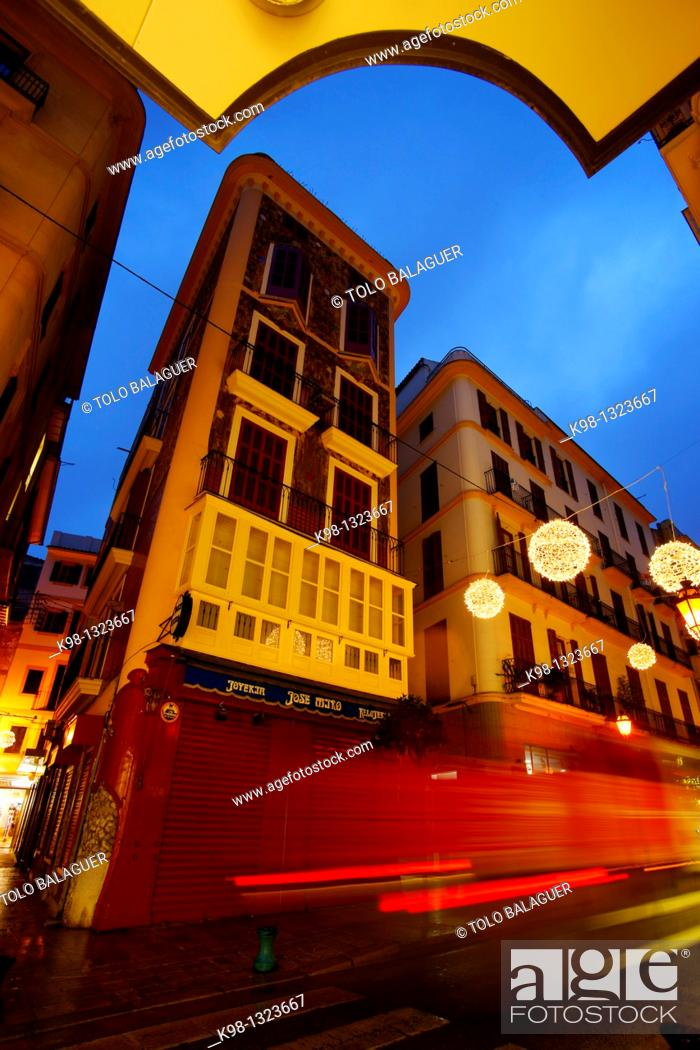 Stock Photo: Modernist building in the street Colon Palma Mallorca Baleares Spain.