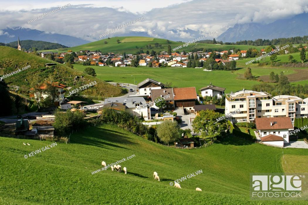 Stock Photo: Austria Tirol Tyrol Rinn small town mountain high road pastoral landscape with sheep.