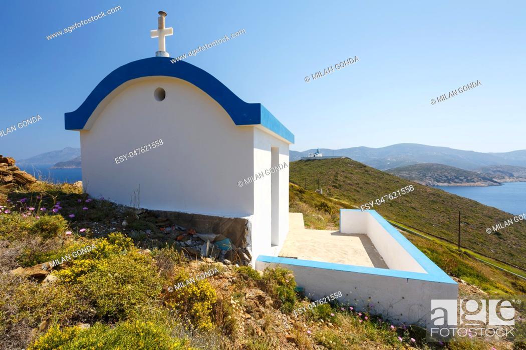 Stock Photo: Small church near Thymaina village in Fourni Korseon, Greece. .