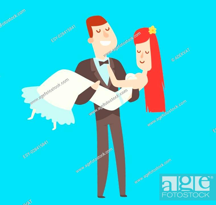 Wedding Couples Cartoon Style Vector Illustration Wedding Couples Cute Cartoon Flat Style Isolated Stock Vector Vector And Low Budget Royalty Free Image Pic Esy 028415841 Agefotostock