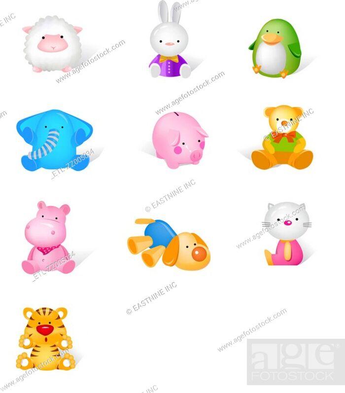 Stock Photo: Different stuffed animals.