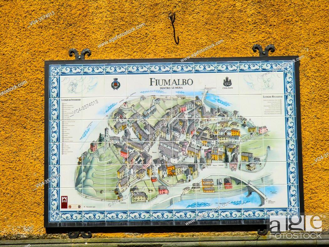 Stock Photo: Map in ceramic of Fiumalbo , Province of Modena in the Italian region Emilia Romagna, Italy, Europe.