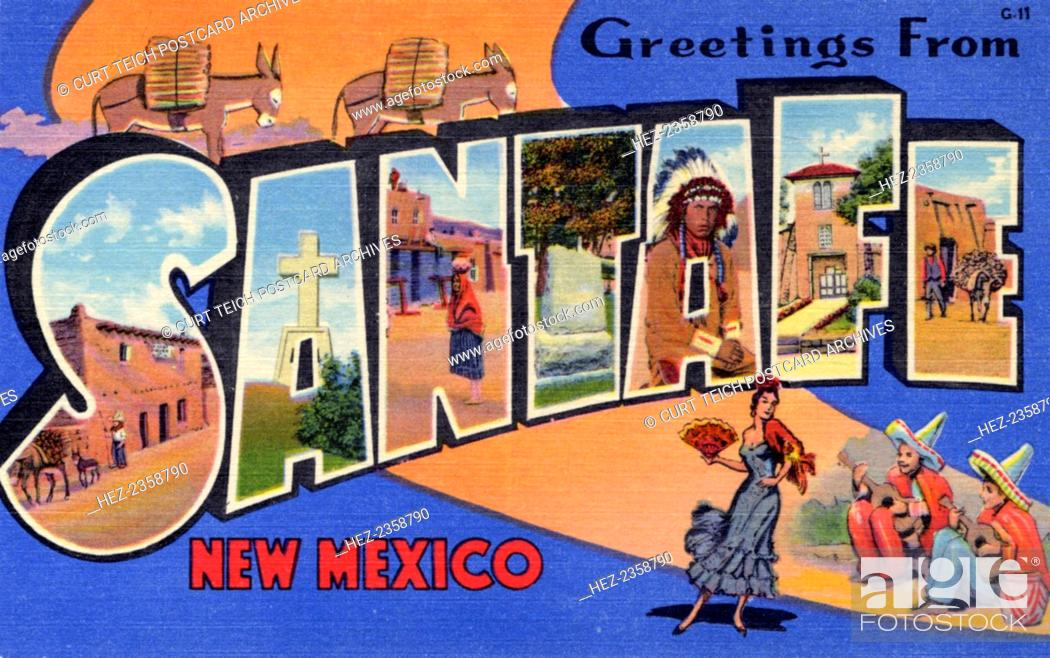 Fabulous Greetings from Santa Fe, New Mexico', postcard, 1937. Large letter  YH23