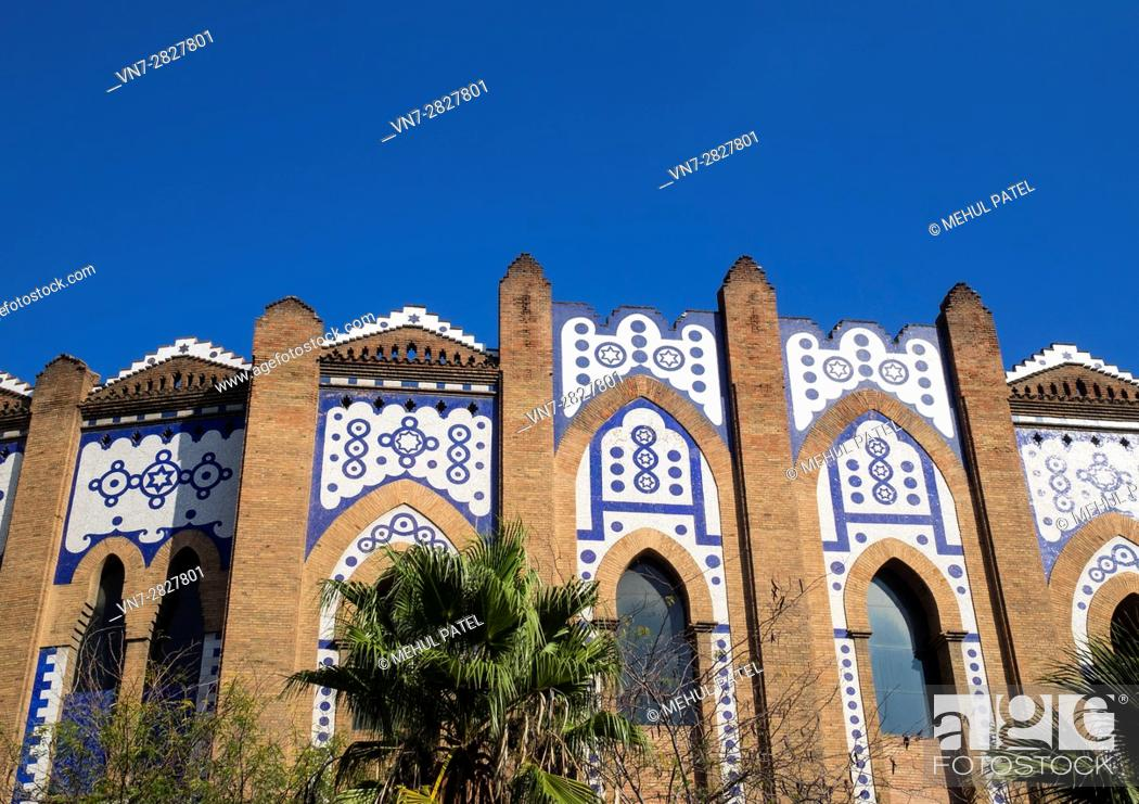 Stock Photo: Exterior view of detail on the Plaza de Toros Monumental (Bullring) in Barcelona - Catalonia, Spain. The venue used to host bull fights, a Spanish custom.