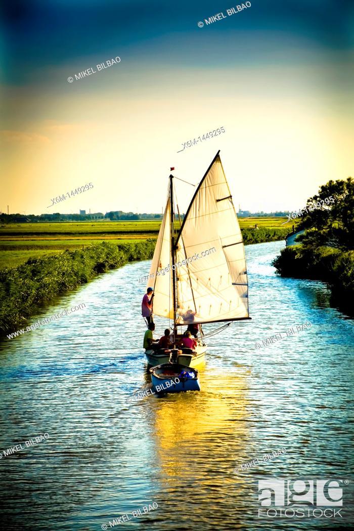 Stock Photo: sailboat in a canal near Zaanse Schans  Holland, Netherlands, Europe.