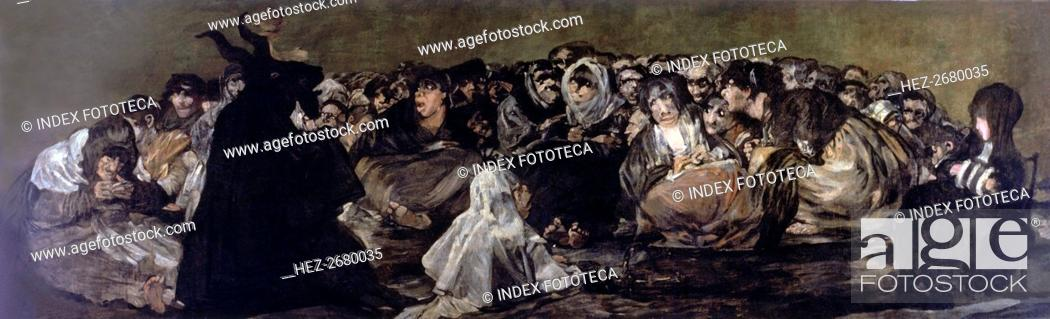 Stock Photo: Witchess coven' (1797-1798), black painting by Francisco de Goya.