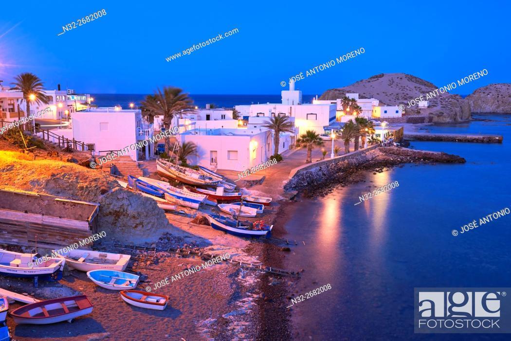 Stock Photo: Cabo de Gata, Isleta del Moro, fishing village, Dusk, Cabo de Gata-Nijar Natural Park, Almeria, Spain, Europe.