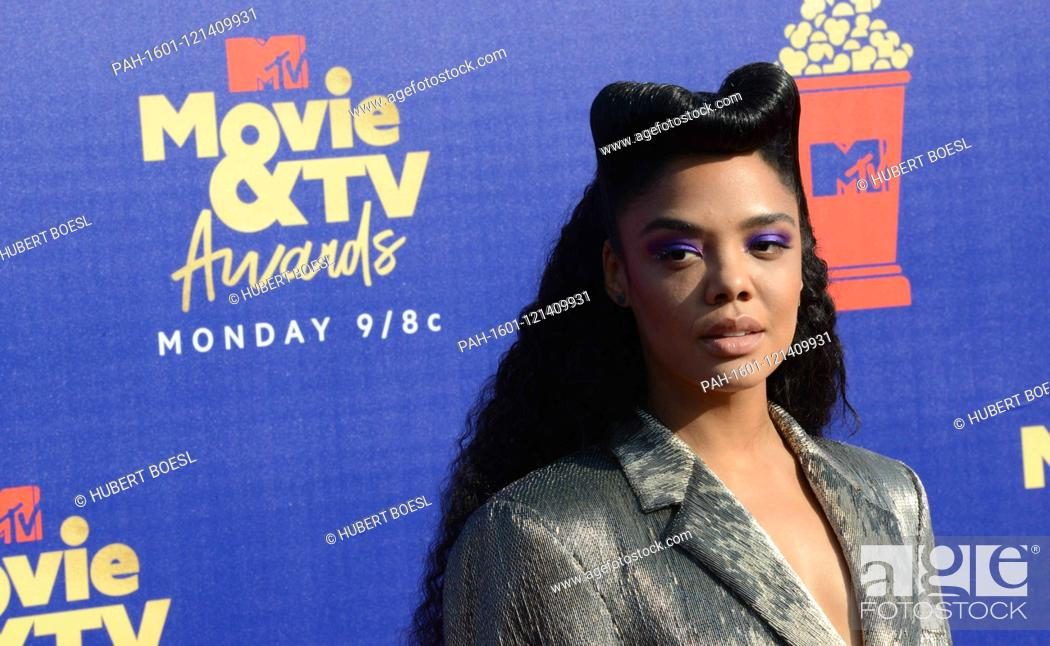 Stock Photo: Tessa Thompson attends the 2019 MTV Movie & TV Awards at Barker Hangar in Los Angeles, USA, on 15 June 2019. | usage worldwide.