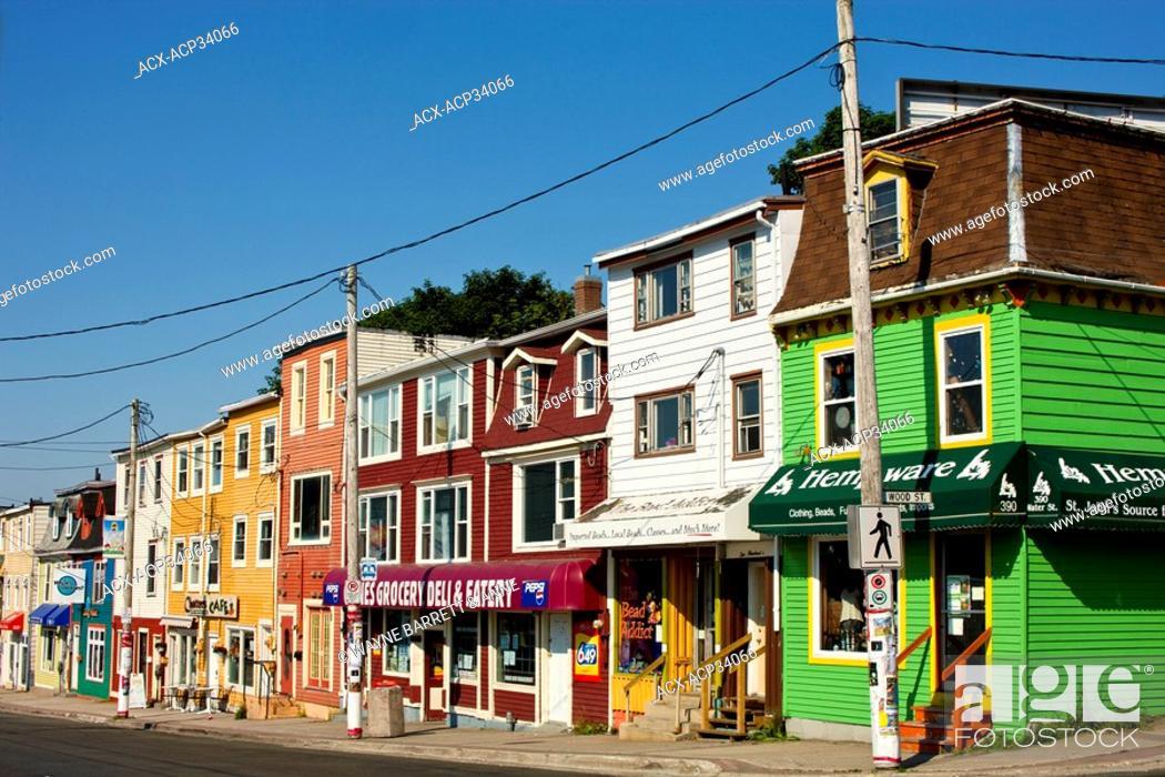 Stock Photo: Row shops in St. John's, Newfoundland and Labrador, Canada.