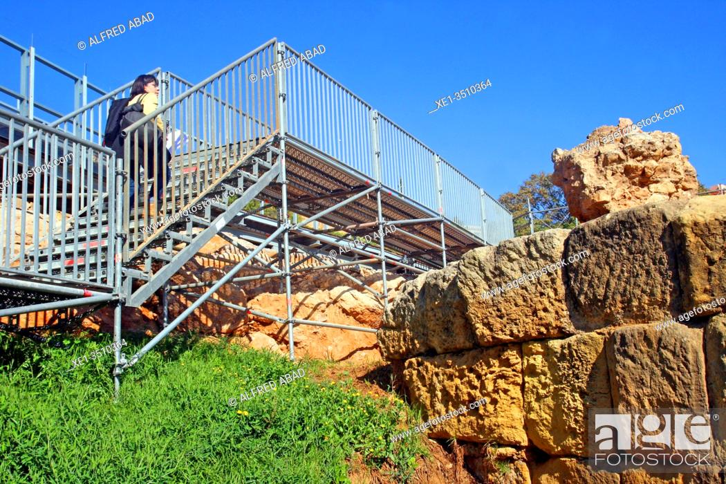 Stock Photo: stairs, ruins , Roman amphitheater, Tarragona, Catalonia, Spain.