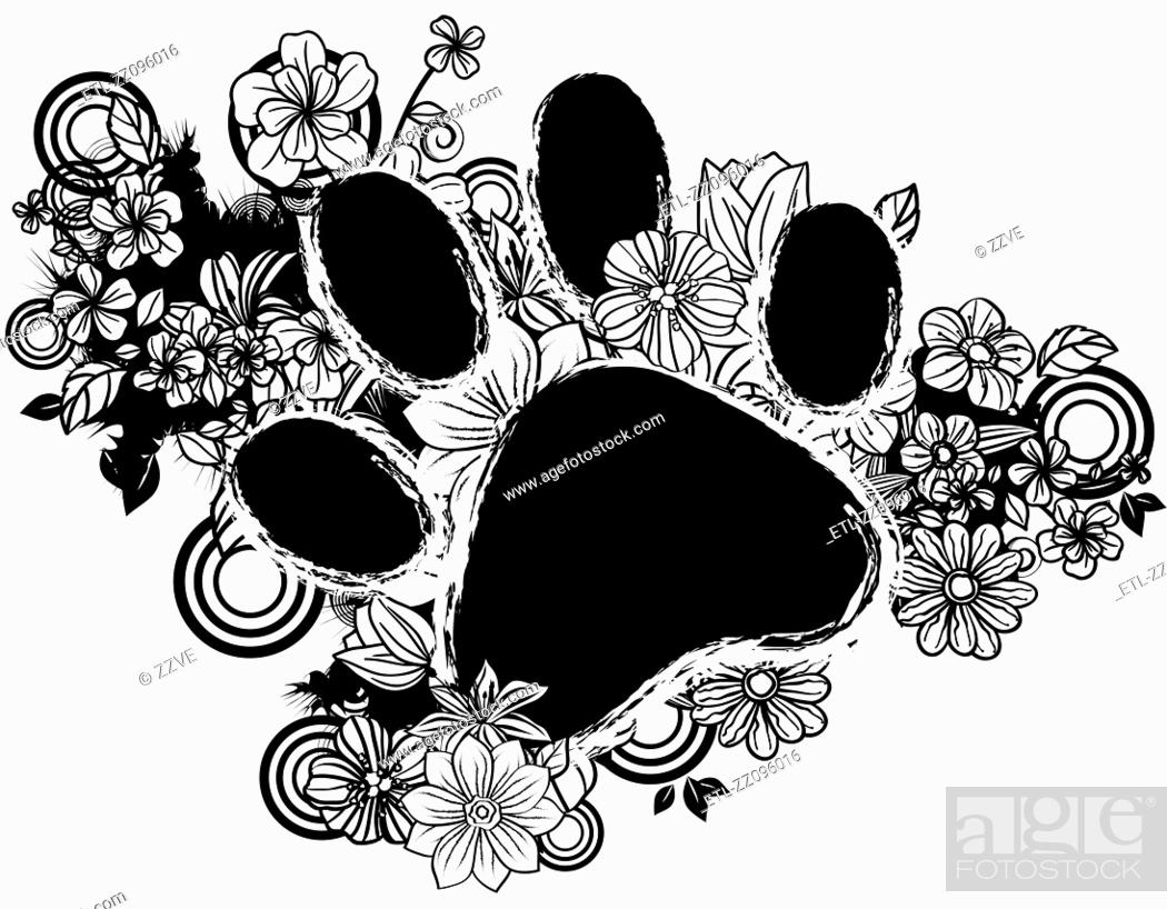 Stock Photo: paws shape with flora design.