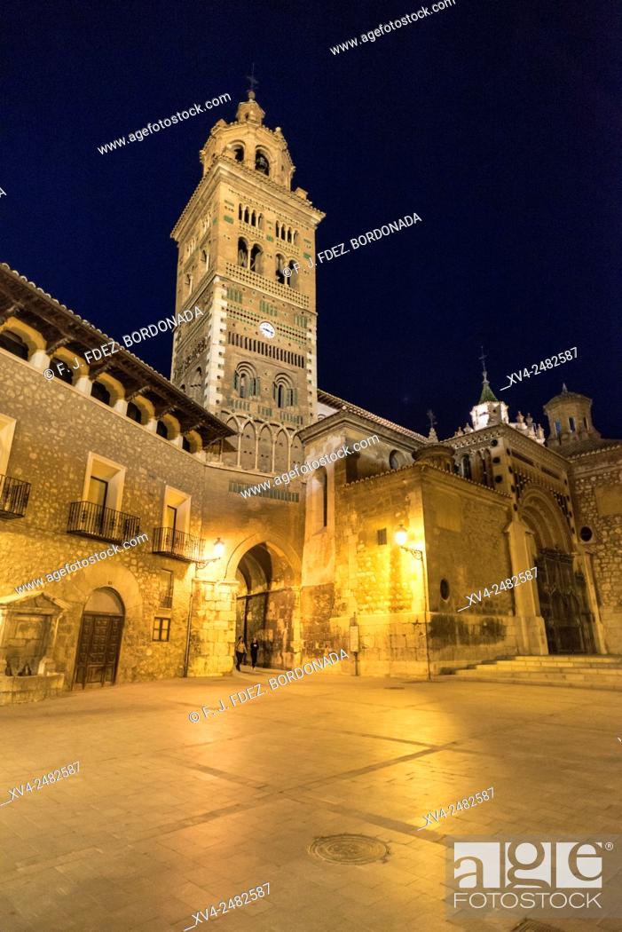 Stock Photo: Teruel Cathedral by night, Teruel, Aragon, Spain.