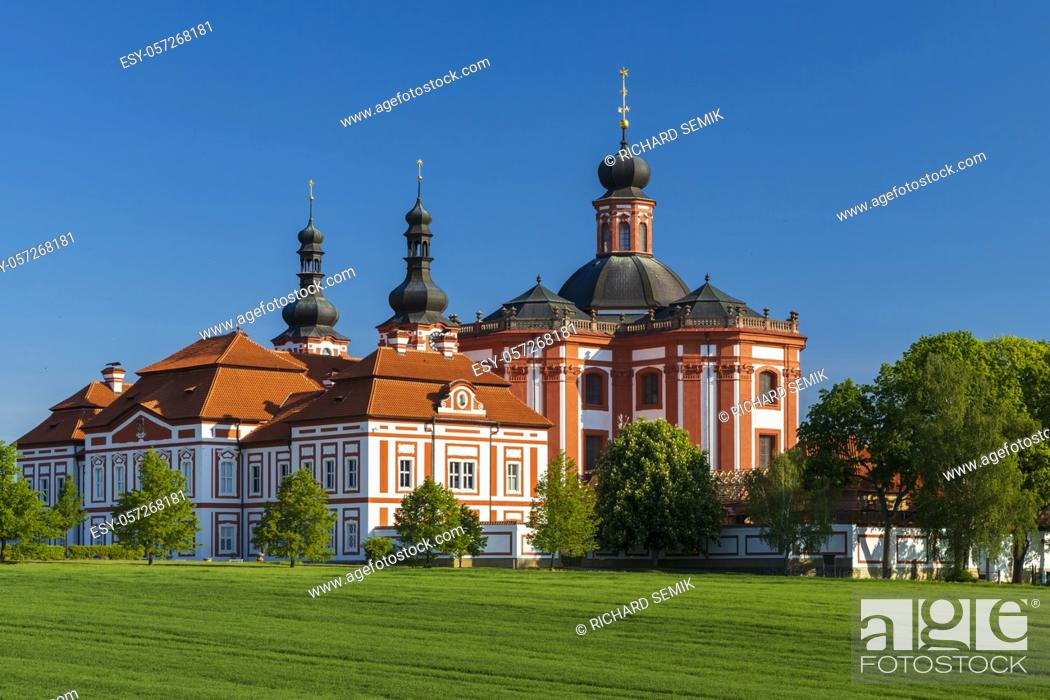 Stock Photo: Museum and ballery in Marianska Tynice. Baroque Church and Cistercian Provost Office built in the 18th century. Tynec, Czech Republic.
