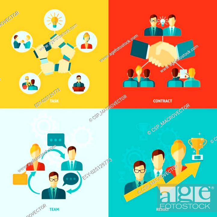 Stock Vector: Teamwork Icons Flat.