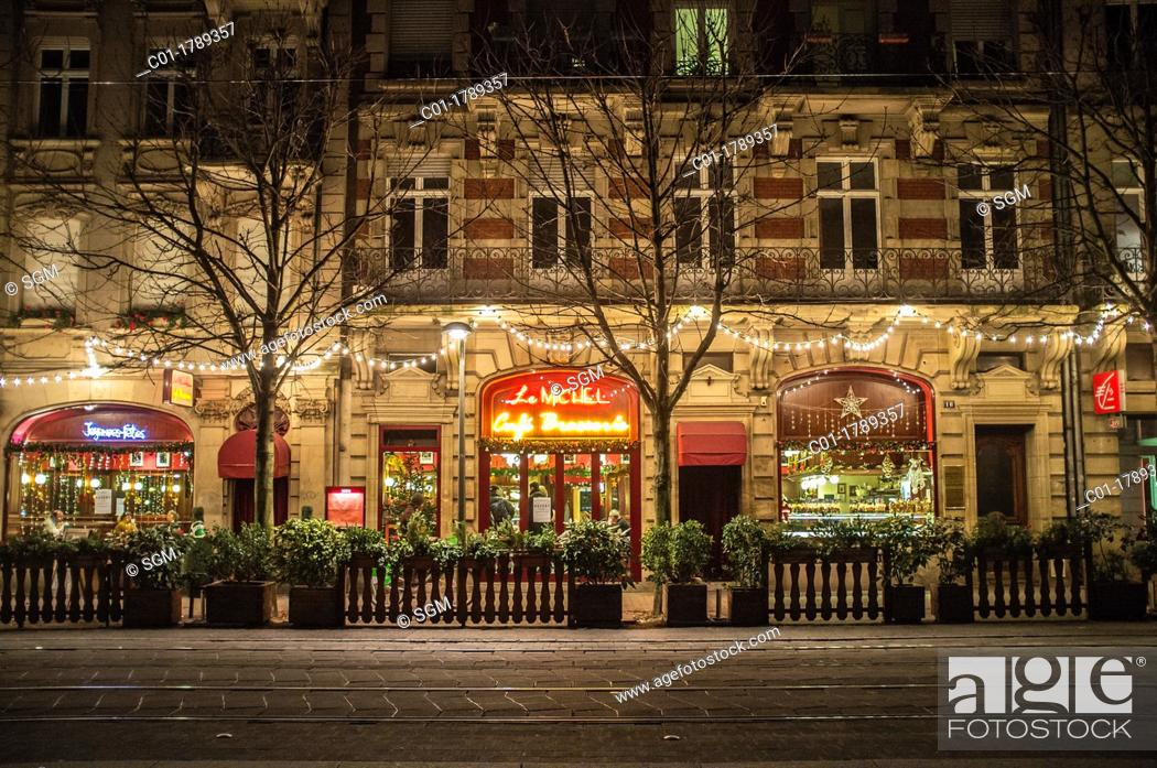 Stock Photo: Street with Christmas decoration, Strasbourg, Alsace, France.