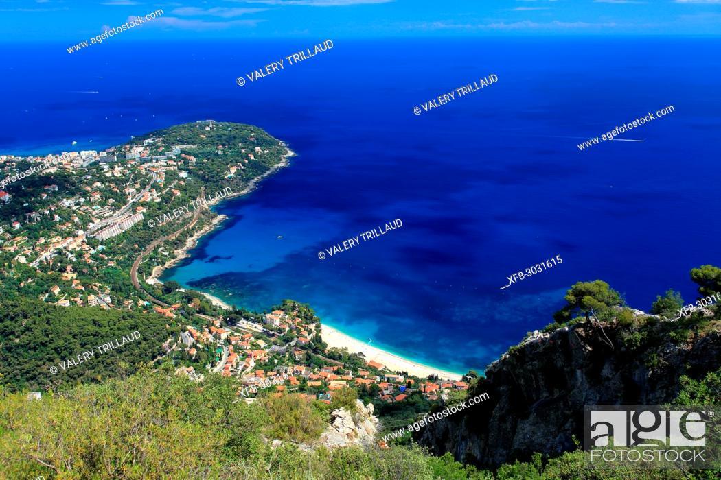 Stock Photo: Aerial view. Roquebrune Cap Martin, Alpes-Maritimes, 06, Cote d'Azur, PACA, France.