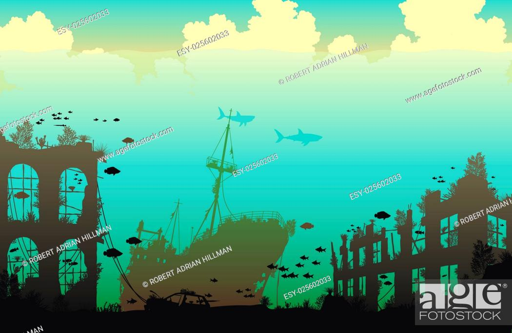 Stock Vector: Editable vector illustration of marine life on a shipwreck and underwater city ruins.