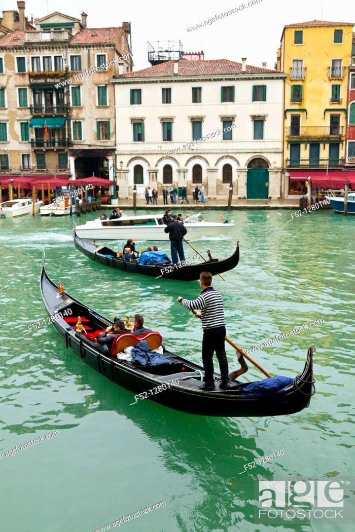 Stock Photo: Gondolas, Venice, Veneto, Italy.