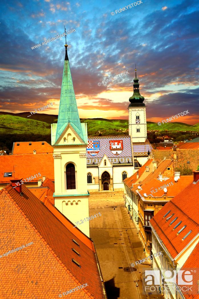 Stock Photo: The Medieval free royal city on Gradec on the hill of Zagreb, Croatia.