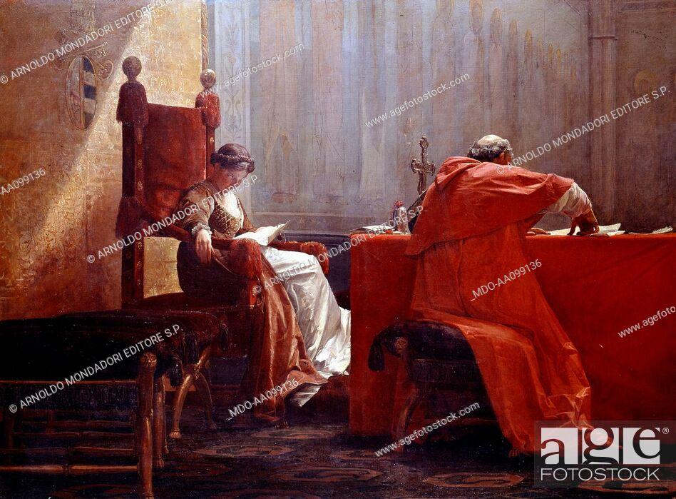 Imagen: Lucrezia Borgia with her father Pope Alexander VI (Lucrezia Borgia col padre), by Giuseppe Boschetto, 19th Century.