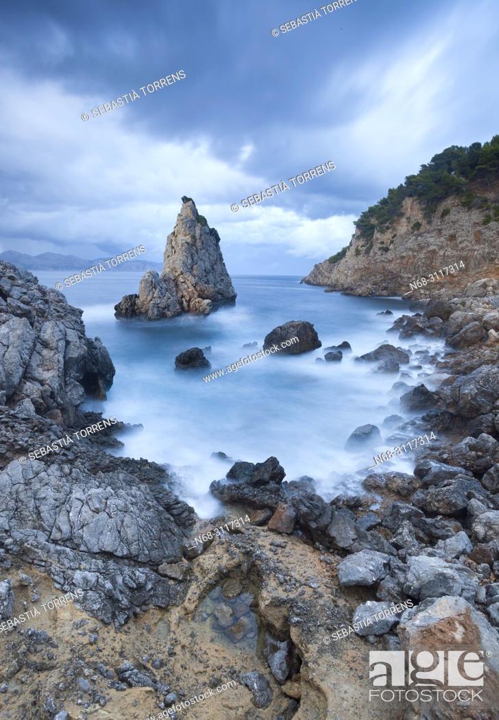 Stock Photo: Es Niu de s'Aguila under storm, Alcudia, Majorca, Balearic Islands, Spain.