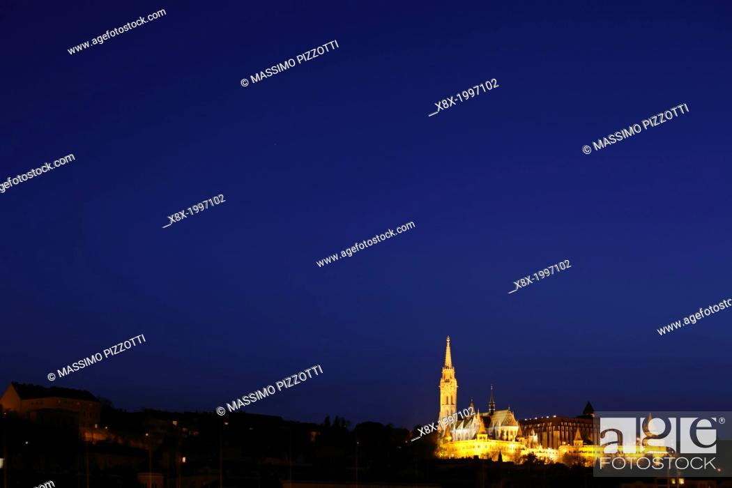Stock Photo: Budapest skyline with Matthias Church, Budapest, Hungary.