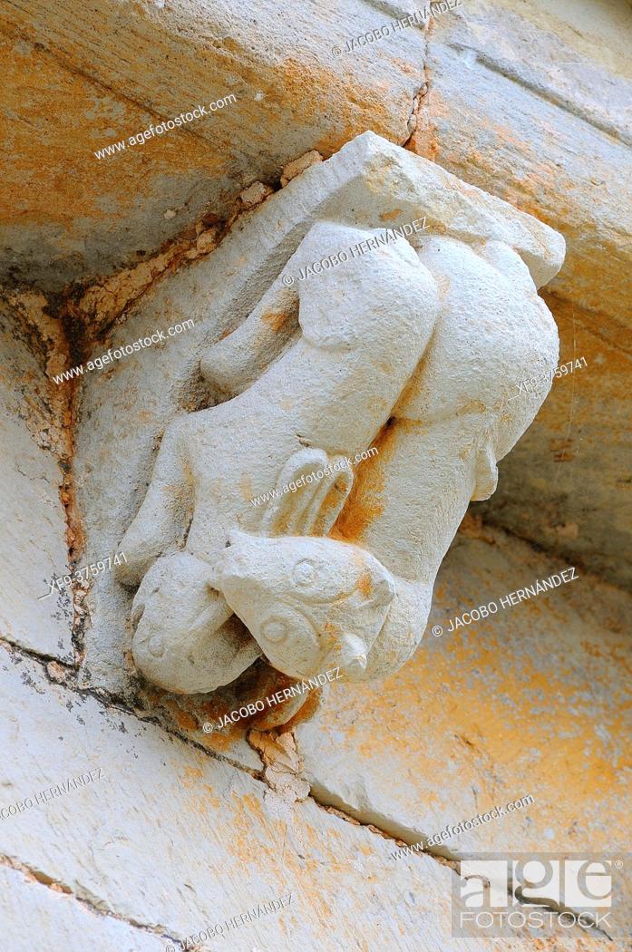 Stock Photo: Ferret hunting a rabbit.Sculpture of the Romanesque church of Nuestra Señora de la Asunción. Pisón de Castrejón. Palencia province. Castilla y León.