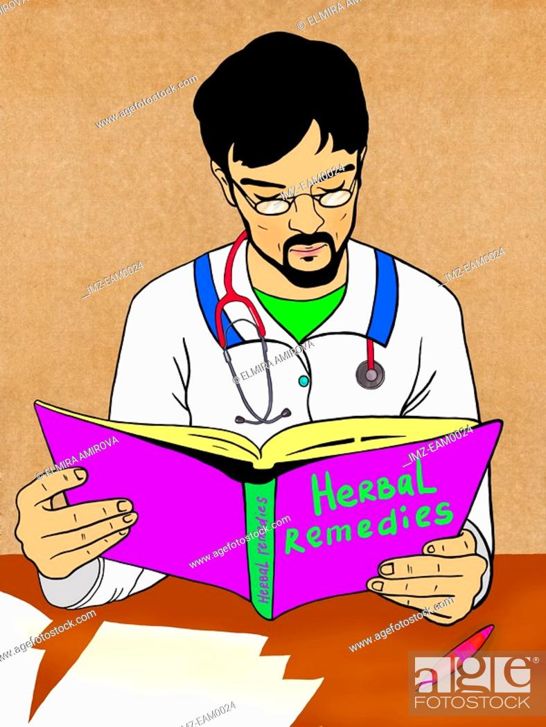 Stock Photo: A doctor reading up on Herbal remedies.